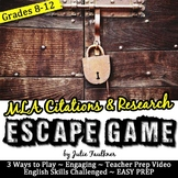 Escape Game Break Out Lock Box Activity for MLA Research and Citations