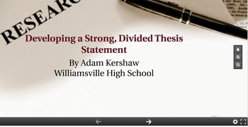 MLA Research--Creating a Specific, Divided Thesis