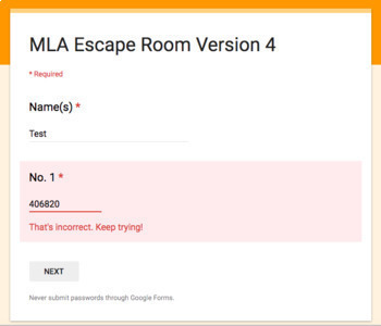 MLA Review Escape Room