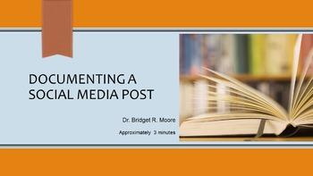 MLA 8th ed. Social Media Post Citation Video