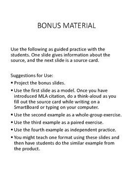 MLA Source Card Practice