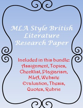 MLA Style British Literature Research Paper