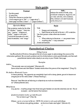 MLA Style Guide Handout