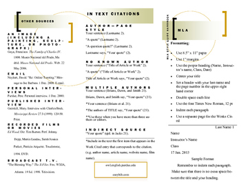 MLA Style Guide - Quick Reference Brochure