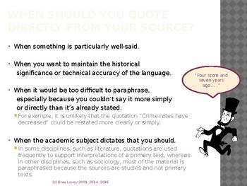 MLA Lesson #2: Parenthetical Citations, Paraphrasing, & Integrating Quotes