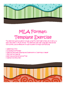 MLA Exercise #1:  Setting Up a Basic Document (with Screenshots!)