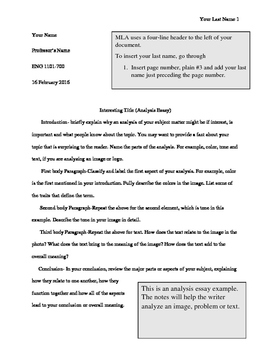 MLA Template_Analysis Writing Lesson