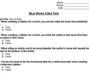MLA Works Cited Assessment