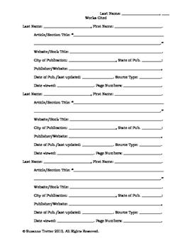 MLA Works Cited Draft Form