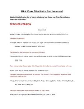 mla works cited list