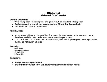 MLA Writing Format- Adapted for 5th Grade ~FREEBIE~
