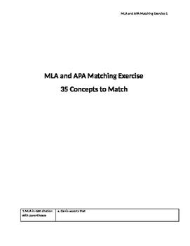 MLA and APA Matching Exercise