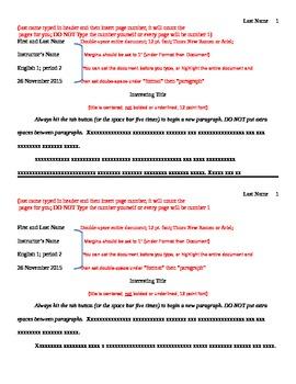 MLA format Sheet