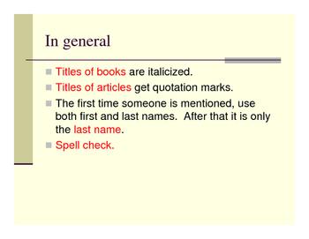 MLA format reminders for literature essays