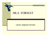 MLA format reminders for literature essays