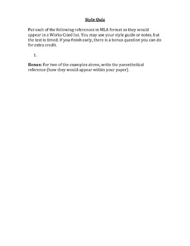 MLA/APA Style Quiz
