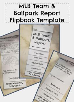MLB Team & Ballpark Report Flipbook, editable/minimal prep for teacher!
