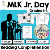 Martin Luther King Reading Comprehension  - Informational Text/Assessment