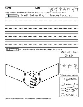 MLK ABC Writing Practice and Hands To Sort, ASL Sign Language