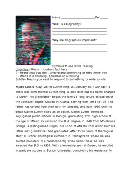 MLK Biography Worksheet