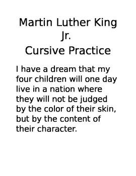MLK Cursive Practice