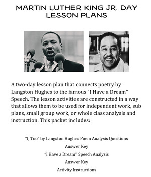 MLK Day 2-Day Lesson Plan (Speech and Poetry Analysis)