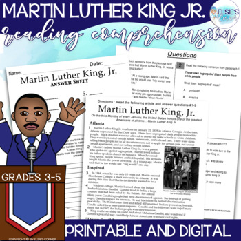 Martin Luther King Jr. Reading Comprehension - Informational Text/Assessment 3-5