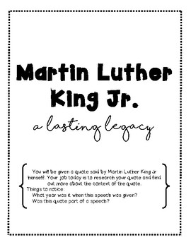MLK Day Important Quotes Assignment