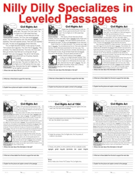 MLK Day, MLK Bio, & Civil Rights Acts 5 Levels 3 Info Texts ALL-READERS-COVERED