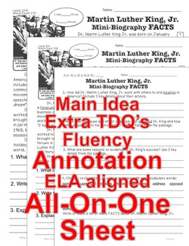MLK Day, MLK Bio, Civil Rights Acts 5 LEVELED PASSAGES Main Idea Fluency TDQs