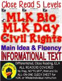 MLK Day, MLK Bio, Civil Rights Acts 5 LEVELED PASSAGES Main Idea Fluency TDQs