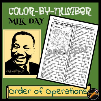 MLK Day Math Color By Number: Order of Operations