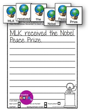 MLK Day Scrambled Sentences and Cut and Paste Build a Sentence Worksheets