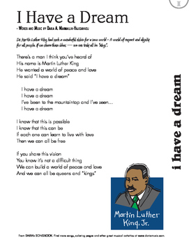 "MLK Day Song - ""I Have A Dream"" Free Lyric Sheet"