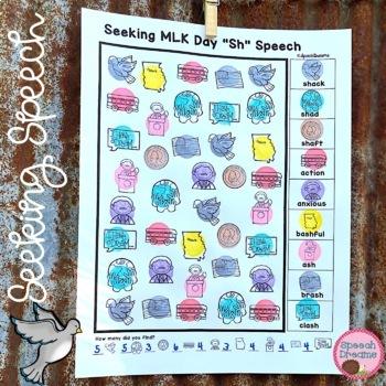 MLK Day Speech Therapy Seeking Activity {articulation} Martin Luther King Jr.