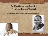 """MLK """"I Have A Dream"""" Common Core Annotated Text w/Marginal Notes"""
