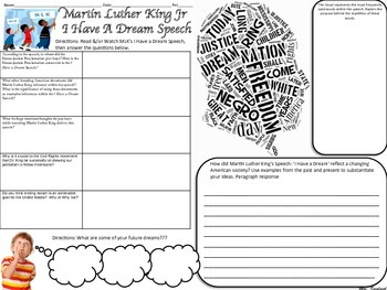 MLK I Have a Dream Speech Analysis Graphic Organizer