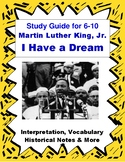 MLK I Have a Dream Speech Close Reading & Vocabulary for Easy Analysis