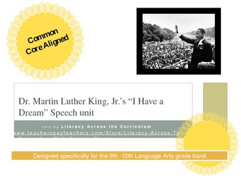 "MLK ""I Have a Dream"" Unit - High School Common Core Aligned"
