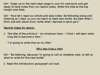 Martin Luther King, Jr. Notetaking