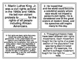 MLK Jr. Cloze Reading Task Cards (28 Cards)