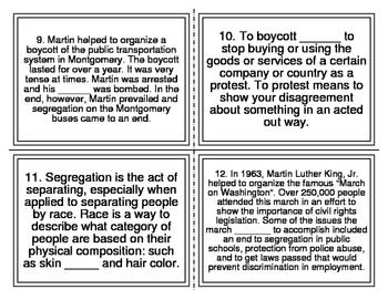 MLK Jr. Cloze Reading Task Cards (28 Cards)