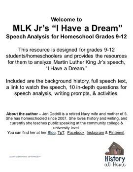 "MLK Jr. ""I Have a Dream"" Speech Analysis for Grades 9-12 ..."