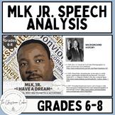"""MLK Jr. """"I Have a Dream"""" Speech Analysis for Grades 6-8 an"""