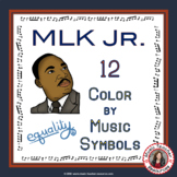 Martin Luther King Jr. Music Coloring Pages: 12 Color by Music Symbols