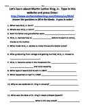 MLK Jr. Worksheet to use with EnchantedLearning.com