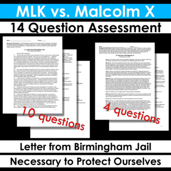 MLK Letter from Birmingham Jail & Malcolm X Necessary to Protect Ourselves Quiz