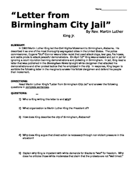 Martin Luther King Letter from a Birmingham Jail DBQ & Primary Resource Activity