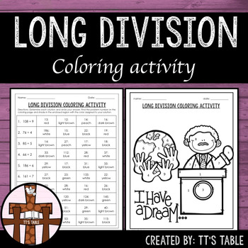 mlk long division coloring activity by tt 39 s table tpt. Black Bedroom Furniture Sets. Home Design Ideas