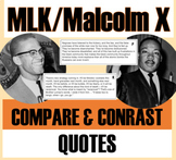 MLK - Malcolm X Quotes: Compare/Contrast Lesson